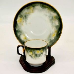 A Laternier Limoges Teacup and Saucer - Demitasse